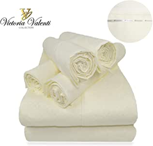 Victoria Valenti 1800 压花床单套装,含超枕套,双拉绒超柔软,深口袋,超深,适合加厚床垫。 象牙色 全部