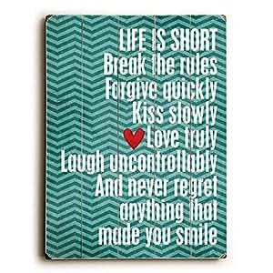 Life is Short 由艺术家 Cheryl Overton 木质标志墙饰艺术作品 蓝色 14 英寸 x 20 英寸