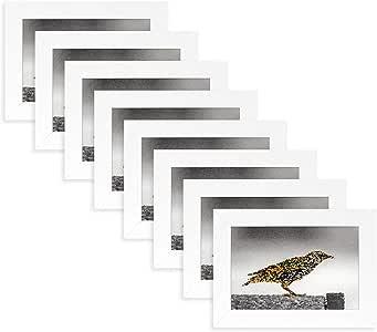金州艺术 8 件套,27.94x35.56 黑色边框 - 象牙色垫适用于 20.32x25.4 图片,木纹饰面 - 锯齿挂钩,旋转标签,真实玻璃 - 肖像,风景 (8,27.94x35.56 cm) 白色 4x6 (Set of 8) J0-03132-GSA0