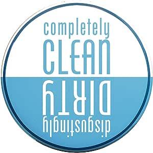 Buttonsmith Clean-Dirty 洗碗机磁铁 - 美国制造 浅蓝色 2.25 inch Round M-C225-1-CleanDirty-LightBlue