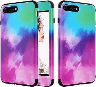 iPhone 8 Plus 手机壳,iPhone 7 Plus 手机壳,Kudex 印花花图案耐用混合硬质 PC 硅胶保护套保护套适用于 iPhone 7 Plus/8 Plus 紫色 蓝色