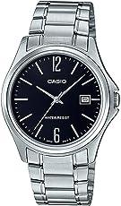 Casio MTP1404D-1A 男式礼服不锈钢黑色表盘 3 指针模拟日期手表