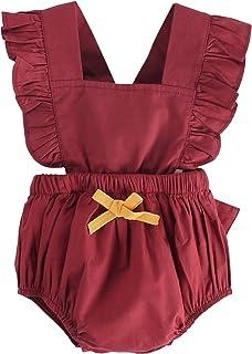 Unmega 女婴连身衣荷叶边连身衣无袖短连身衣夏季服饰套装