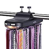 Primode 电动领带架 LED 灯 - 衣橱整理架,储存和显示多达 64 个领带或腰带,旋转使用电池操作。 送礼佳品 黑色
