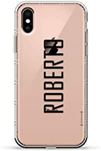ALBANIAN FLAG 奢华空气系列透明硅胶手机壳带 3D 印花设计和气袋垫缓冲垫适用于 iPhone Xs Max(新款 2018/2019 型号,带 6.5 英寸屏幕)LUX-IXPLAIR-NMROBERTO2 NAME: ROBERTO, MODERN FONT STYLE 透明
