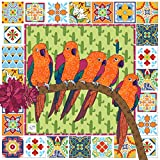 "CACTUS PARROT CLOTH NAPKIN 来自 MollyMac 大型 Serviette 波西米亚家庭 Funky House 。 Perfect Thank you Gift,婚礼礼物,生日礼物,圣诞节 - 趣味十足设计 - 英国制造 - * 纯棉钻孔 - 46cm x 46cm 18"" - Cactus 鹦鹉餐巾"