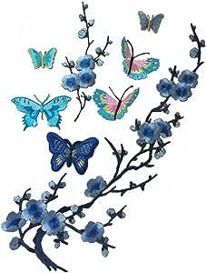 蝴蝶刺绣贴花补丁熨烫棉质贴花蝴蝶补丁 蓝色 B FQT001252A