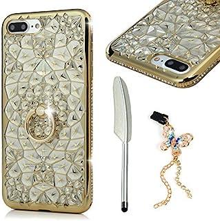 MOLLYCOOCLE iPhone 7 Plus 手机壳,手工制作奢华 3D 闪亮果冻水钻 PU 皮革钱包翻盖保护套带磁性闪亮按钮扣合 iPhone 7 PlusiPhone 7 Plus/iPhone 8 Plus 金色