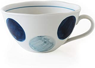 CtoC JAPAN Select 一人生活 餐具 汤杯 轻巧 手绘圆纹 蓝色 W 14cm xD 12cm xH 6.6cm 410cc 日本制造