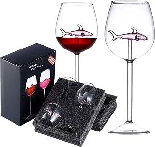 Shark Wine Glass,2 件套红酒杯内有鲨鱼,水晶长笛高脚杯,成人家庭酒吧派对圣诞节庆典新奇礼品(粉色)