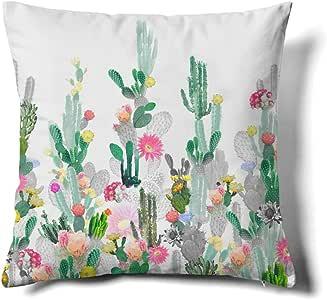Happy Memories 装饰抱枕枕套,经典羊绒花纹,双豹纹图案,花卉灵感设计和仙人掌装饰方形装饰枕套 1 件 Cactus