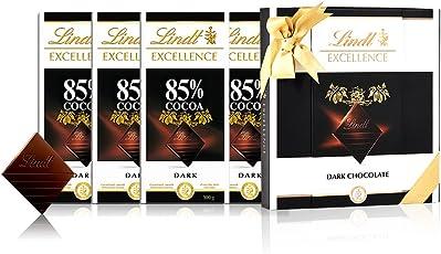 Lindt 瑞士莲 特醇排装85%黑巧克力4块 咖啡色礼盒 400g(瑞士进口)(亚马逊自营商品, 由供应商配送)