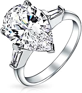 Bling Jewelry 贝灵珠宝 经典梨形长阶梯形切割锆石 925纯银 锆石 订婚戒指