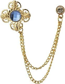 AN KINGPiiN 蓝色闪光石带金色雕刻项链翻领别针,胸针西装铆钉,衬衫铆钉男士配饰