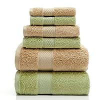 都豪 DOOUT HOME COLLECTION 1880g埃及长绒棉浴巾毛巾方巾6件套 七星级酒店品质 (纯棉加大加厚浴巾78×150cm,毛巾38×78cm,方巾32×32cm) 米色/绿色