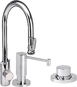 Waterstone 5700-3-SN 扩展至 PLP 拉式水龙头,带肥皂/乳液分配器和空气开关,缎面镍
