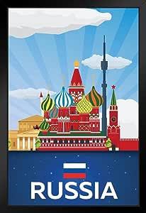 Poster Foundry 俄罗斯红色方形复古旅行海报 裱框海报 14x20 inches 224198
