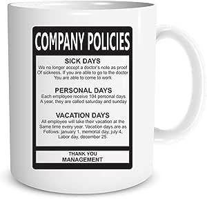 Funnwear Office 礼品马克杯 - 讽刺马克杯带趣味办公标语 - 圣诞节新年礼物创意圣诞员工经理男款 - 311.84 毫升陶瓷咖啡马克杯 Company Policies