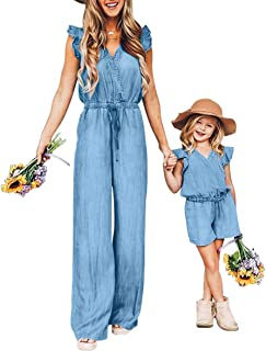 PopReal Mommy and Me Rompers 夏季休闲细肩带高腰纽扣短裤连身裤