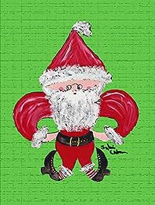 Christmas Santa Fleur de lis Flag 多色 大