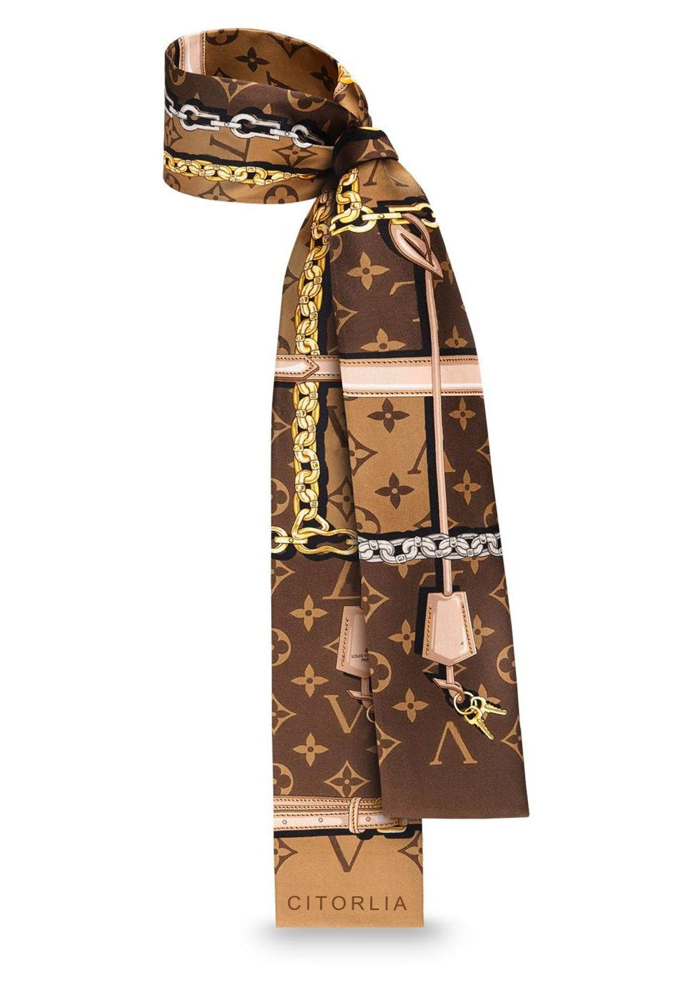 奢华时尚标志性 lovieTRUNKS MONOGRAM ConfiIDENTIAL 真丝斜纹手镯项链围巾 适合小包提手