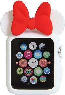 Navor 软硅胶保护套套套,迪士尼人物米老鼠耳朵兼容苹果手表 38mm 系列 1 2 3 [IWC-MK-38] White Red-38MM