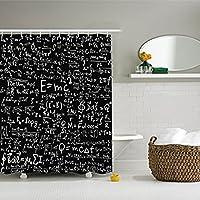 Einstein Physics Formula 科学极客 黑色,定制防水/防霉面料浴帘额外长款 style1 72x84inch 180208ZXQLOV10