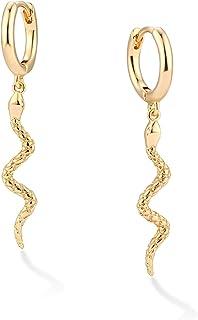 VACRONA 蛇形吊坠小圈耳环个性化朋克水滴动物耳环Huggie Hoops 防*时尚耳饰