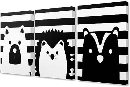 Stupell Be Wild 条纹黑白动物拉伸帆布墙艺术,3 件,每件 40.64 x 3.81 x 50.80 厘米,多色 多色 3pc, each 16 x 20 brp-2230_cn_3pc_16x20