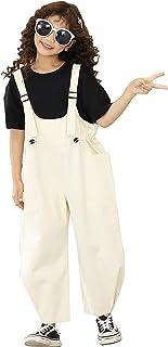 TRTRO EXPOING 女孩儿童宽腿长裤棉质可调节肩带