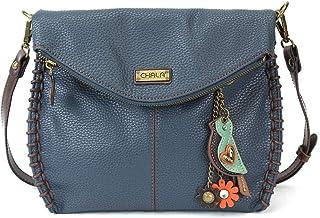 Chala 迷人斜挎包 - 藏青蓝色翻盖上衣和金属钥匙坠饰,斜挎或单肩钱包