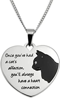 Joyful Sentiments 宠物首饰不锈钢猫咪连接心形吊坠项链 45.72 cm 链带 7.62 cm 延长链