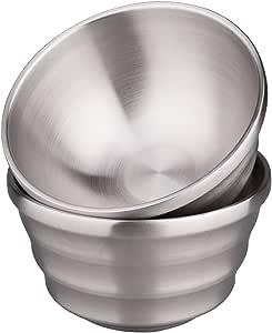 IMEEA 2 件套双甲板拉丝 SUS304 不锈钢碗,不含 BPA 银色 L-5.9inch 194