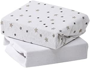 Baby Elegance 针织床单床,灰色星星,2件装