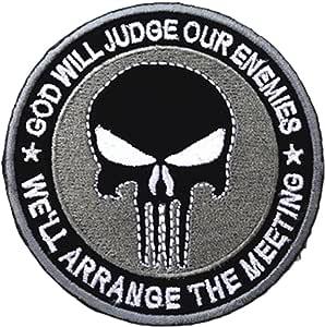 QTao UPA140 魔术贴刺绣 God Will Judge Our Enemies We 'll Arrange the meetings 惩罚者军事战术士补丁 3.15 英寸圆形