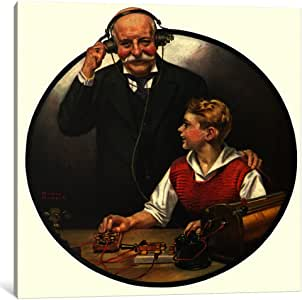 """iCanvasART Grandpa Listening In On The Wireless Canvas Print by Norman Rockwell, 26 by 26""""/0.75"""" Deep"""