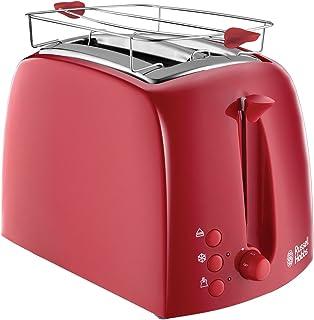 Russell Hobbs Textures 烤面包机、6 个可调节的烘焙级别,带2 个特别宽的吐司口 850W 红色 21642-56