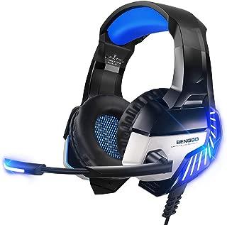 BENGOO K8 系列 II 游戏耳机,适用于 PS4、Xbox One、PC、Mac、降噪头戴式耳机,带麦克风,低音环绕立体声,LED 灯游戏耳机(蓝色)