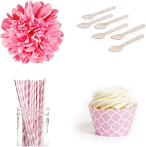 Dress My Cupcake Dessert Table Party Bundle, Mini, Pink Spanish Tile