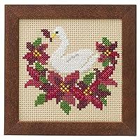LECIEN 刺绣套件 可爱动物和季节的花 带框架十字绣套件 Swan和poinsetia