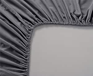 Eyelet 家居装饰 1 件床笠(仅限底层床单)袋深 63.5cm 纯色 600 支 * 埃及长绒棉提供 9 种尺寸和 31 种颜色。 大象灰色 King spw1165