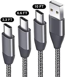 USB type c 电缆2m 2件装 USB C to USB A 2.0尼龙编织线数据传输同步 & charging 适用于 SAMSUNG GALAXY S9S8PLUS note 8LG V30V20G6G5新款 macbook HTC U11/ 10Google Pixel 2XL MOTO Z2 灰色 1 X 3.3ft, 1 X 6.6ft, 1 X 10ft,