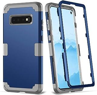 兼容 Galaxy S10+ 手机壳,HONTECH 全机身重型防震防刮保护盖,带屏幕保护膜 *蓝-灰色