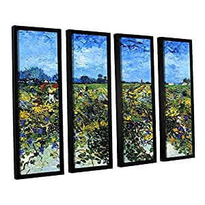 ArtWall 4-Piece Vincent Vangogh's Green Vineyard Floater Framed Canvas Set, 24 by 32-Inch, Multicolor