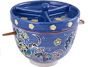 Happy Sales HSRB-BCLRD4 多功能日本设计陶瓷 Ramen Udong Soba Tempura Noodle Pho Donburi 米饭泰罗碗带筷子和调味品盖 15.24 cm 深,红色花卉 Harvest Blue HSRB-LIDHV3