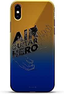 奢华设计师,3D 印花,时尚,高端,高端,Chameleon 变色效果手机壳 iPhone Xs MaxLUX-IMXCRM2B-GUITAR1 Air Guitar Hero Dusk Blue