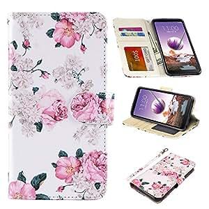 LG stylo 4 手机壳,UrSpeedtekLive LG stylo 4 钱包手机壳,高级 PU 皮革翻盖钱包手机壳带/卡槽和支架兼容 LG stylo 4 (2018)/LG Q Stylus Wallet-Flower