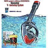 Shark's Tooth *管面罩,透气 - 1800 全景海景 - 游泳面罩 - 创新的 V 型后挡技术 - 水肺面罩 - 防漏防雾 S/M PKERDF-455