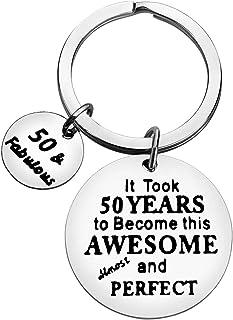 Happy Birthday 钥匙扣 50 岁生日钥匙扣 男士 50 岁生日礼物首饰 女士励志钥匙扣 50 年才能成为这个超棒和几乎完美的钥匙扣