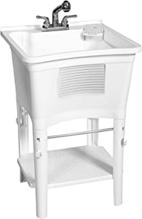 Zenna Home,ErgoTub ELT2006W 独立实用洗衣浴盆,带抽取水龙头,白色